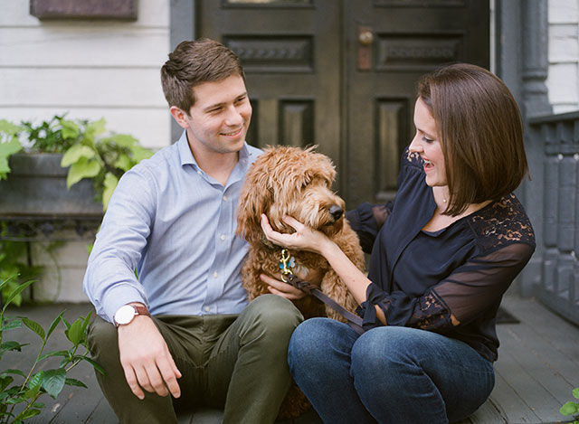 Church Hill at home session with goldendoodle puppy - Sarah Der Photography