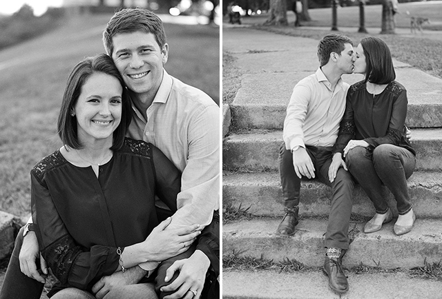 portraits of couple on steps at libby hill park, shot at sunset