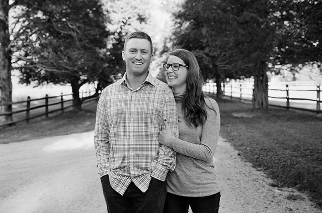 black and white film engagement portrait of couple