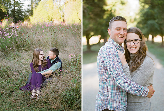 fall portraits of a couple in front of wildflowers on a farm