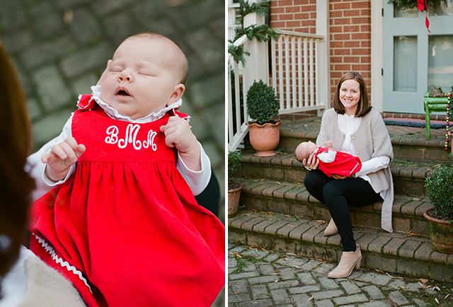 monogrammed newborn dress in holiday red