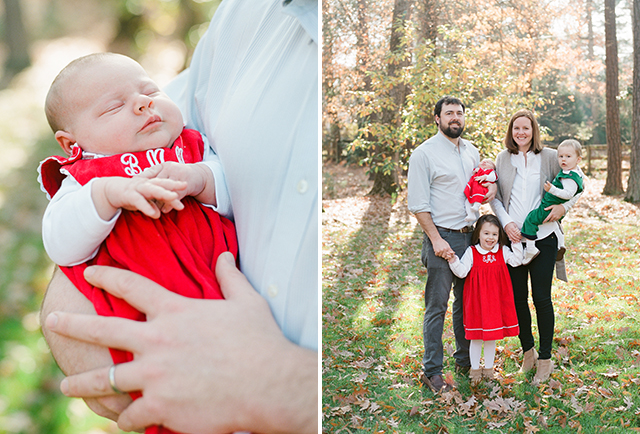 natural light newborn photos of family outdoors