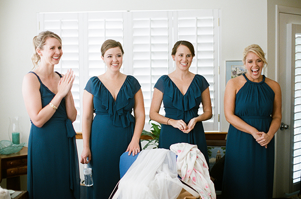 Joanna August bridesmaids dresses in navy blue