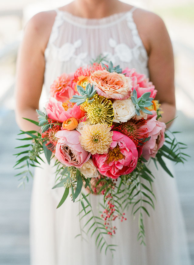 Eco Chic floral design with peonies! - Sarah Der Photography