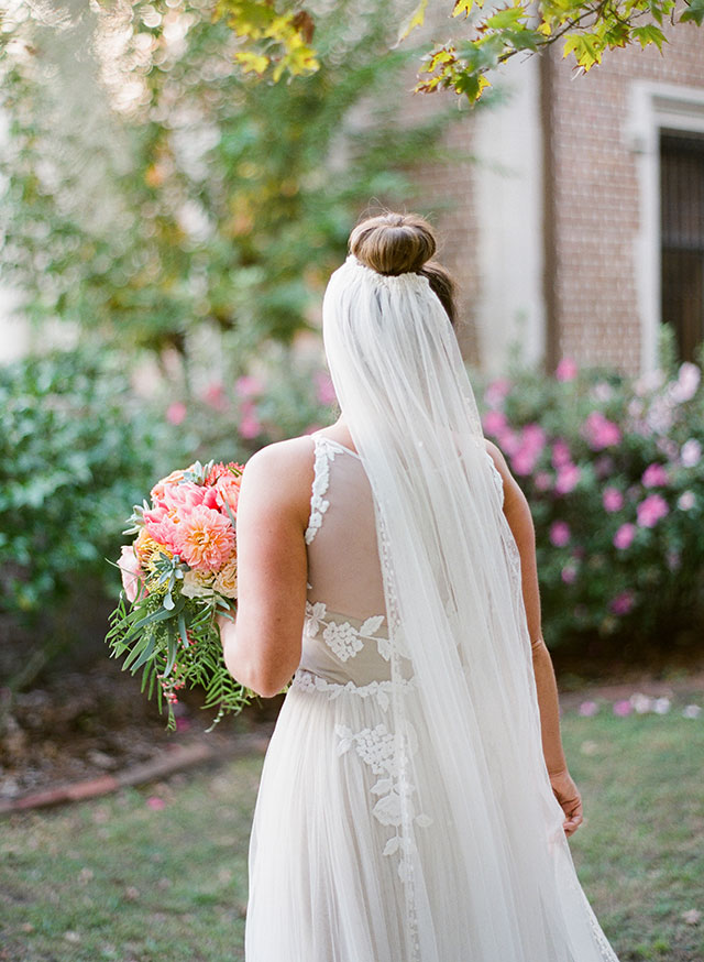 vintage veil on bride in garden - Sarah Der Photography