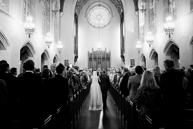 black and white film photos of church ceremony at first presebyterian