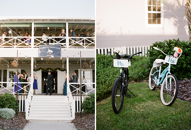 carolina yacht club wedding reception with outdoor cocktail hour and beach portraits, indoor reception with band