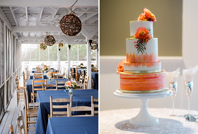 One Belle Bakery wedding cake with orange and gold