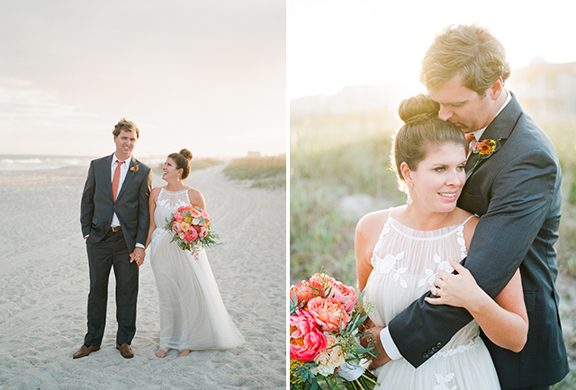 sweet portraits of bride and groom on the beach!
