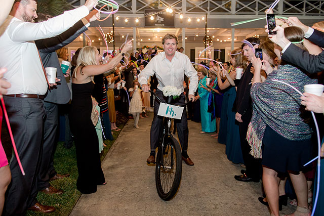 Mr. and Mrs. bikes for bride and groom