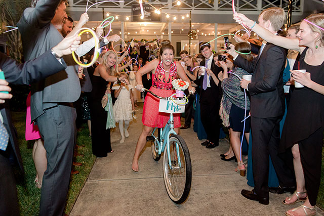 bike exit and glow stick exit at wilmington wedding