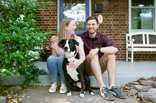 Portrait session photo with dog on the steps on a home in the Fan, Richmond