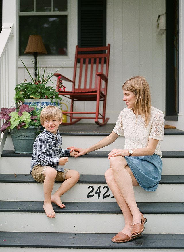 Sweet moment between mom and son shot at home on fuji 400H film