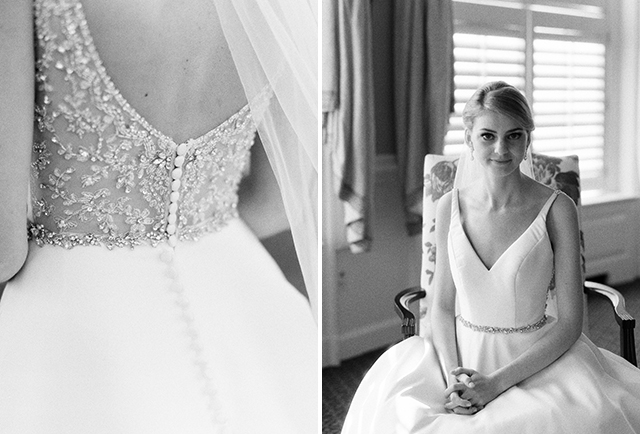 black and white film photos of bride sitting in ballroom at Country Club of Virginia - Sarah Der Photography