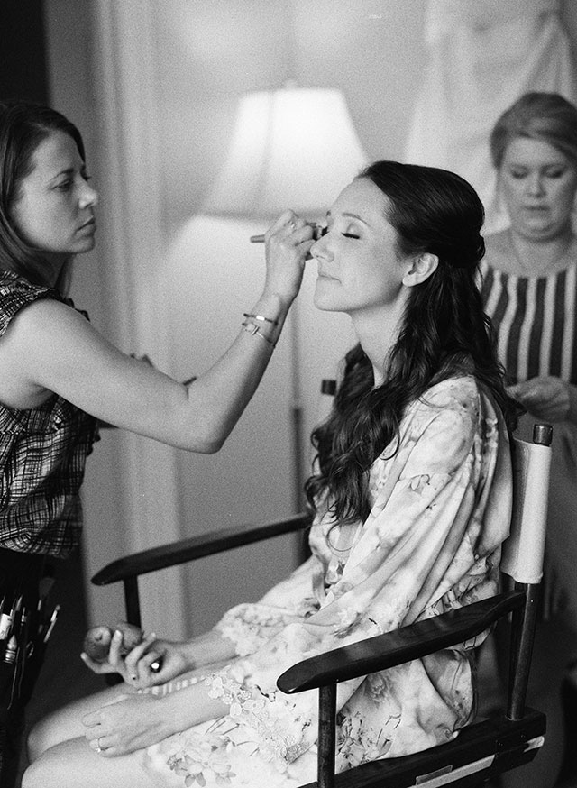 Onloktion makeup for wedding day at Fearrington Village - Sarah Der Photography