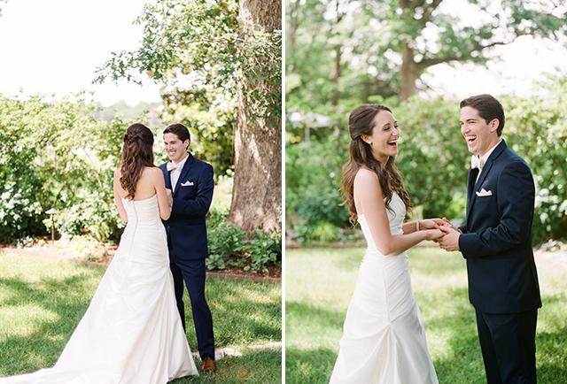 sweet first look moment on film in courtyard - Sarah Der Photography