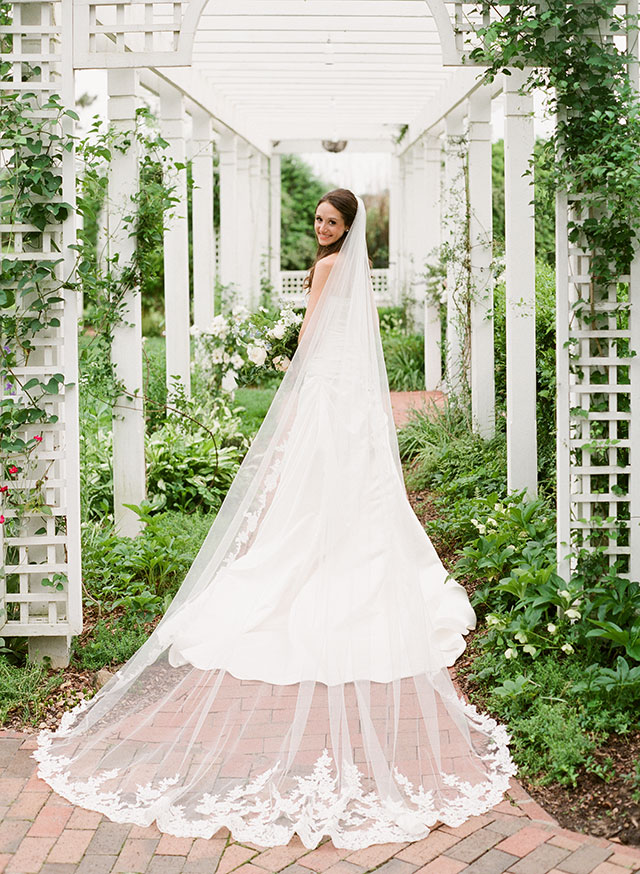 Bridal portrait in gardens at Fearrington - Sarah Der Photography