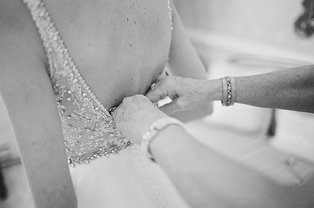 beaded wedding gown with drop back