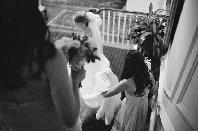 CCV wedding bride walking down the steps