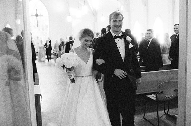 bride and groom walk down aisle as husband and wife!