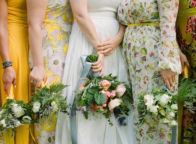 mismatched yellow bridesmaids dresses - Sarah Der Photography