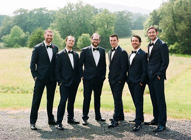 mountain wedding shot on film, portrait of groom and groomsmen - Sarah Der Photography