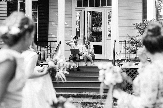 Friends accidentally see bride before ceremony - Sarah Der Photography