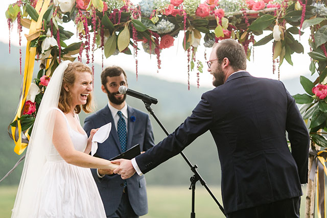 couple exchanges vows