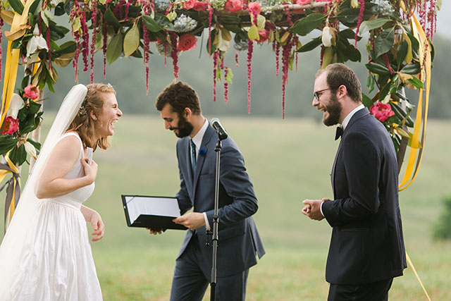couple laughs before they are officially husband and wife