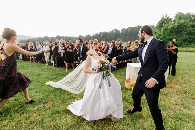 bride's veil snags on ground