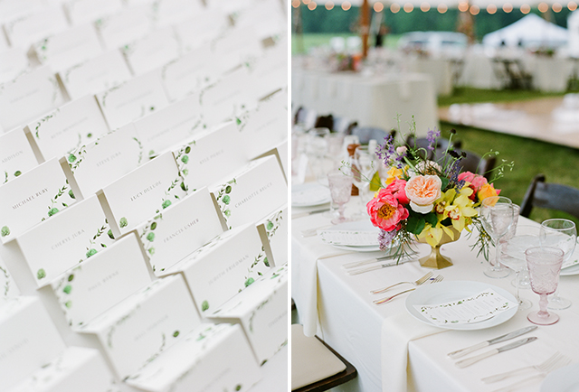 white reception ideas with pops of color in the florals