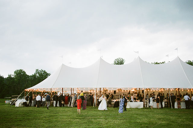 outdoor tent reception before the storm hits