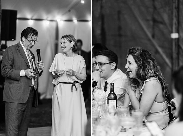 bride's parents give a joint toast