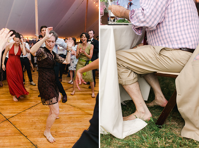 guests take off muddy shoes because tent floods