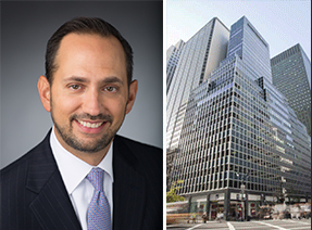 TIAA's Kevin Smith and 685 Third Avenue in Midtown (Photo: CoStar)