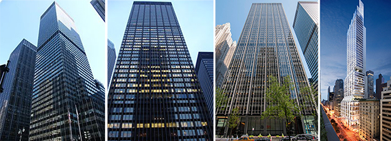 From left: 277 Park Avenue, 270 Park Avenue, 299 Park Avenue and 425 Park Avenue