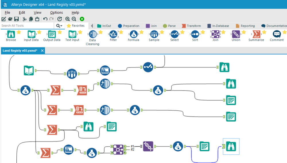 Alteryx has a modular structure i.e, load file then add new fields then aggregate etc.,