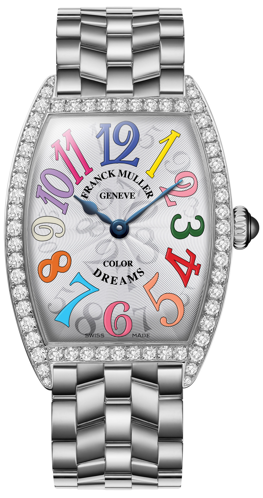 Cintree Curvex, quartz, ladies, 1 row diamond case, color dreams dial, stainless steel case, white dial, on steel bracelet.  $11,990.00