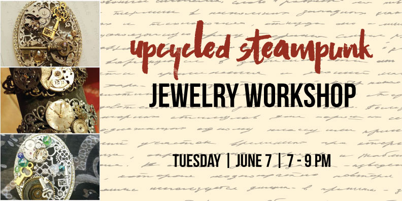 Join us for an evening of Steampunk Jewelry making! Jewelry maker & artist, Tracy, will show you just how easy and fun creating your own Upcycled Steampunk jewelry piece can be! Design your own bracelet using old watch parts, gears, cameos, crystals & more. Let your inner artist come out! A glass of wine and all of the supplies to make your own jewelry piece will be provided.