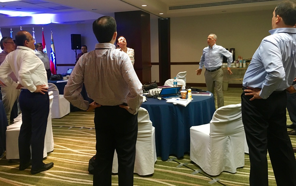 Simple techniques reduce stress hormones and increase confidence-building hormones in any meeting - including this management session in Monterrey, Mexico