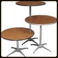 "Cocktail & Bistro Tables  42"" or 36"" Heights    $8.00 each"