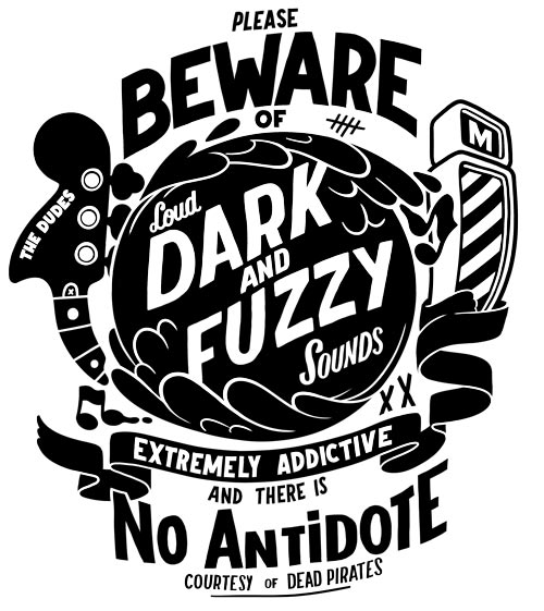 Another tee shirt design for the   Dudes Factory   about those dark and fuzzy songs that I enjoy so much, I'm not talking about farts, although it fits the description.   get it here : http://www.dudes-factory.com/english_pound/mcbess-beware-0200207501.html