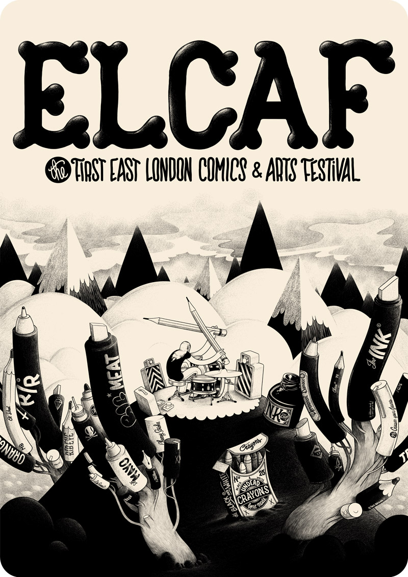 Nobrow wanted me to draw poster for ELCAF, the east London comics and arts festival. The trees are made with pens, pencils and markers, how fucking clever am I, I mean you do use pencils, pens and markers to make comics and arts, notice I didn't drew a computer because a tree made with computers is fucking stupid, also there's no brushes, I don't like brushes.  cheers mc
