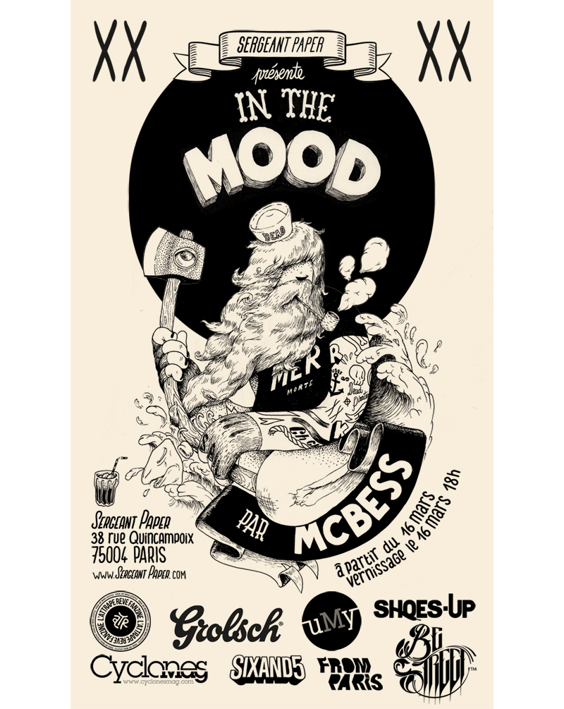 "16th of march I'll be in Paris for my new show "" in the mood"" hosted by   Sergeant Paper  , cannot write more I've got to go back to draw for the show…   Le 16 mars je serais a Paris pour ma nouvelle expo "" in the mood "" chez   Sergeant Paper  , je dois retourner dessiner et jouer a la xbox …     EVENT DETAILS"