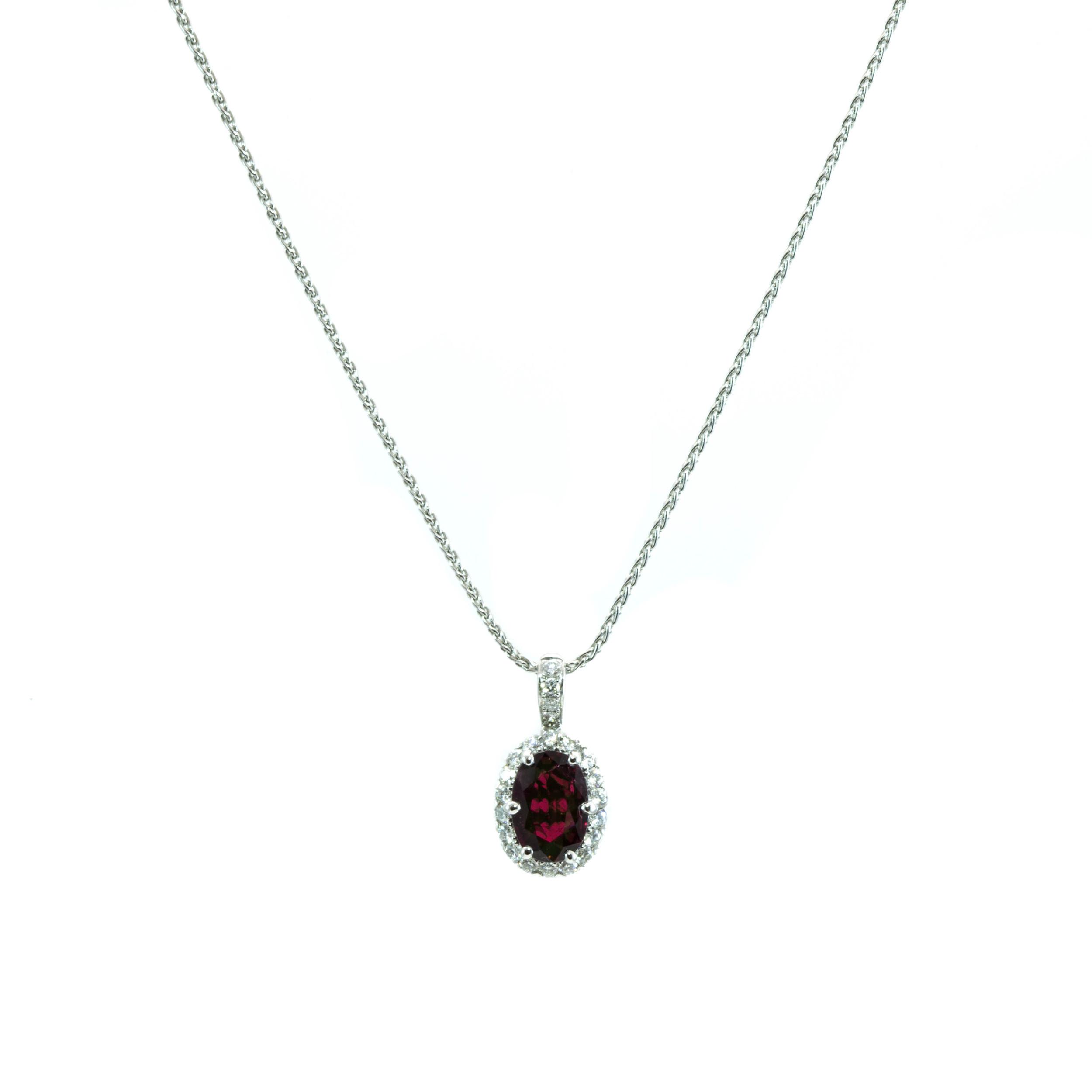 Garnet halo pendant oliver smith jeweler garnet halo pendant aloadofball Choice Image