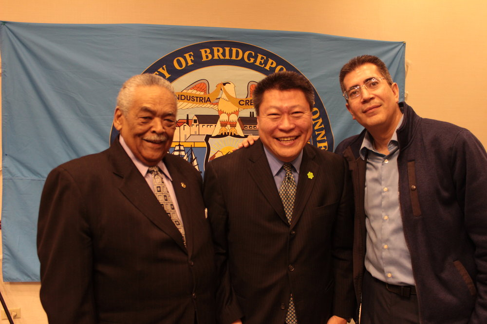 (Left to Right) State Senator Ed Gomes, State Senator Tony Hwang, and State Representative Ezequiel Santiago were among the 7 legislators in attendance.