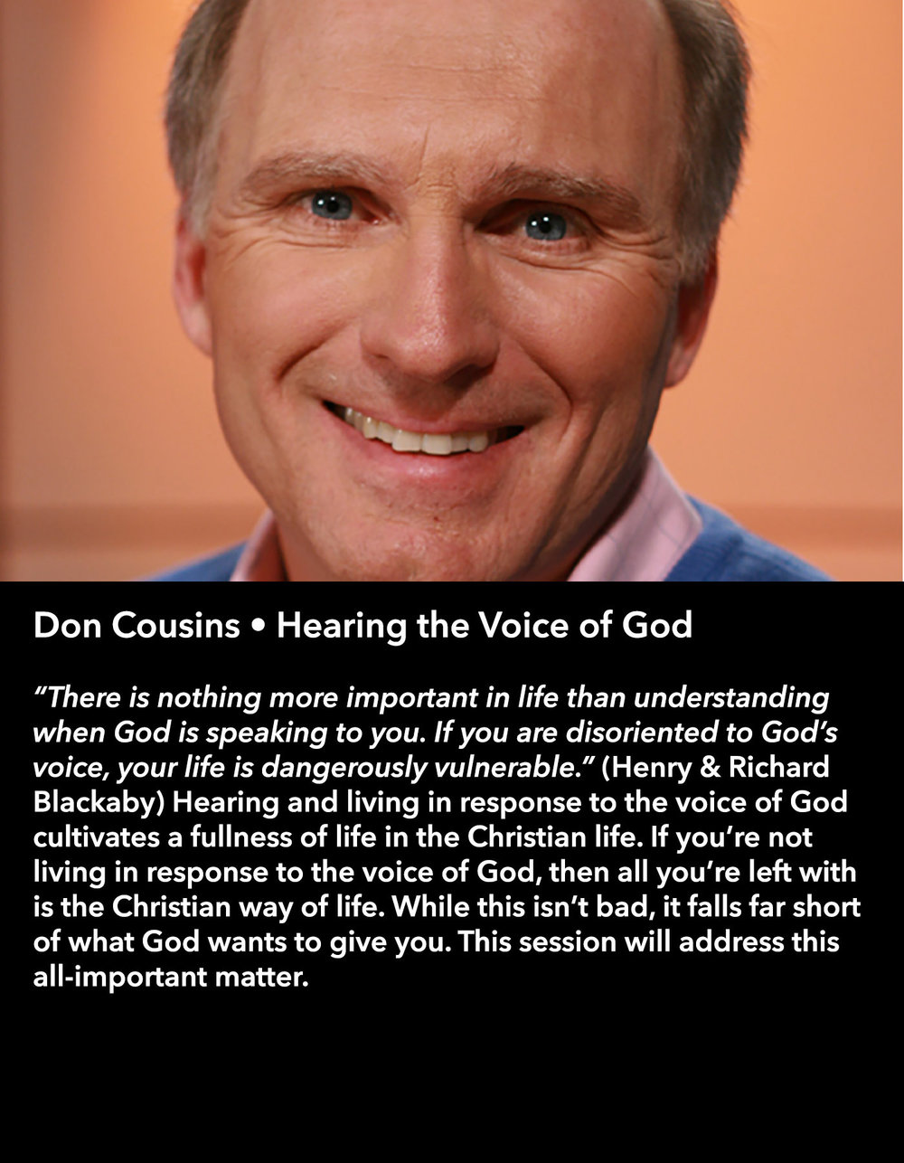 Don Cousins • Hearing the Voice of God • Friday Morning, March 17 • 10:30 – 11:45 am