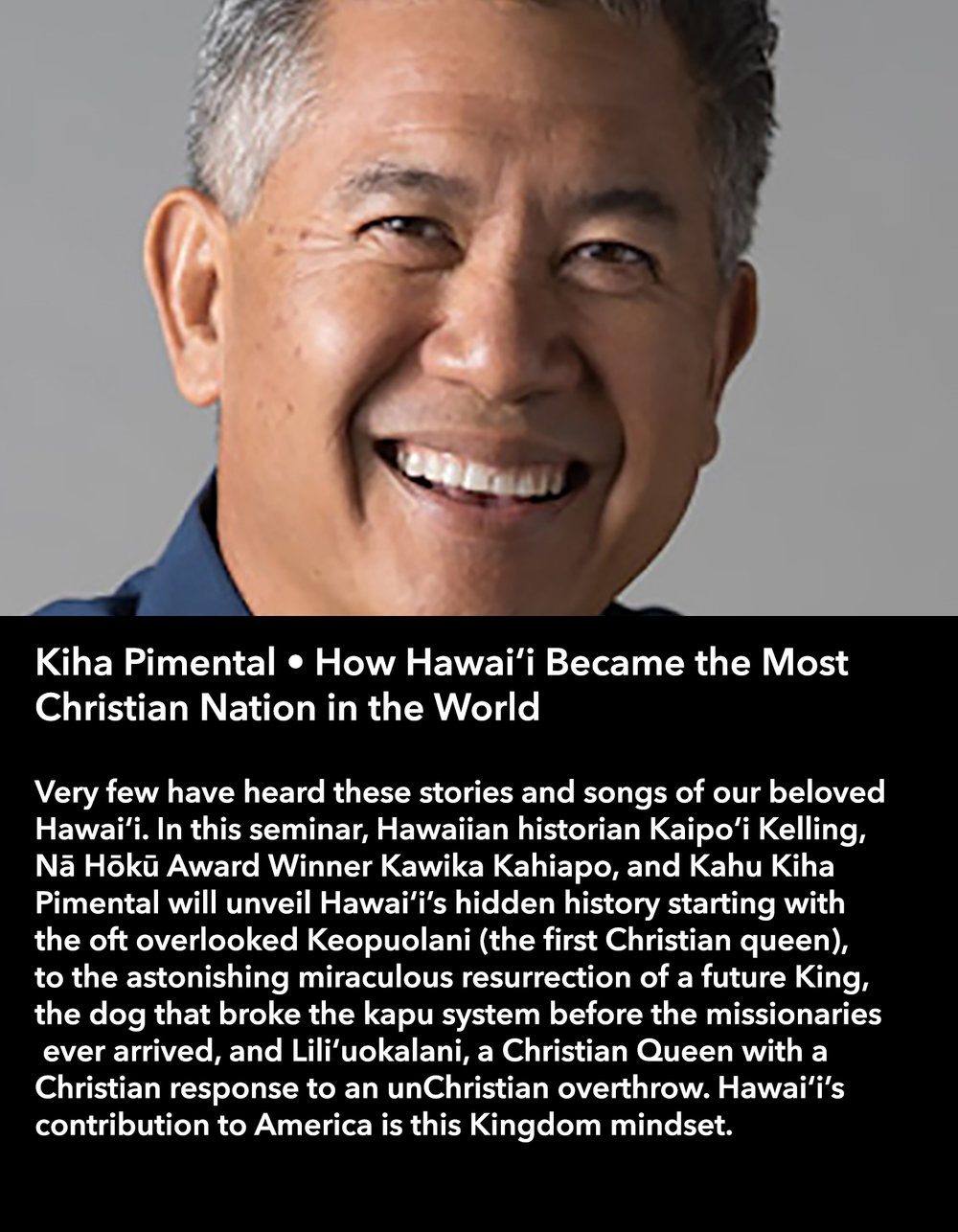Kiha Pimental • How Hawai'i Became the Most Christian Nation in the World • Friday Afternoon, March 17 • 3:30 – 4:45 pm
