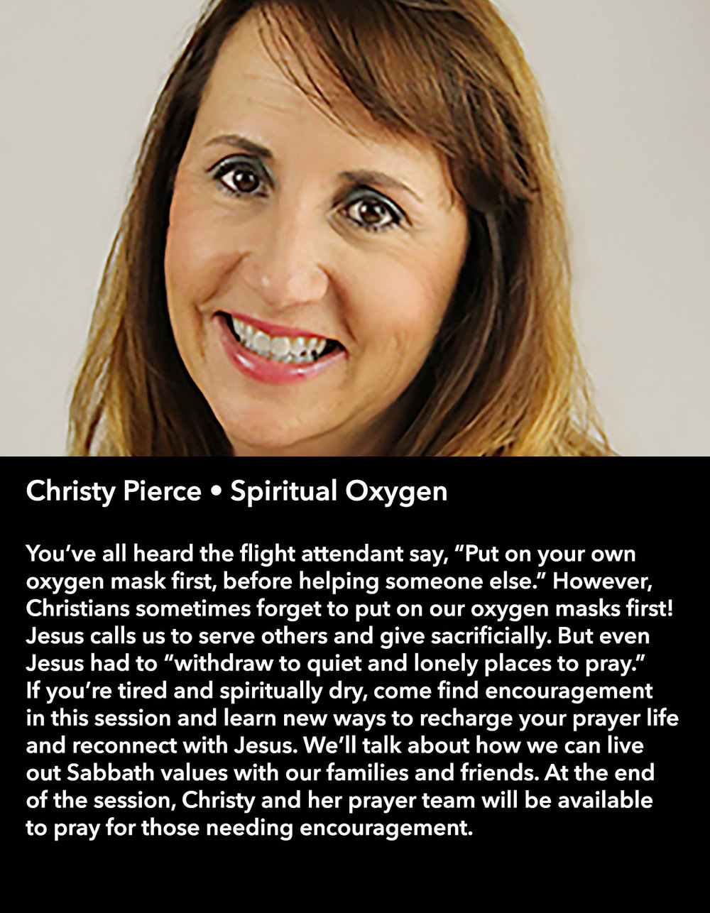Christy Pierce • Spiritual Oxygen • Saturday Morning, March 18 • 10:30 – 11:45 am