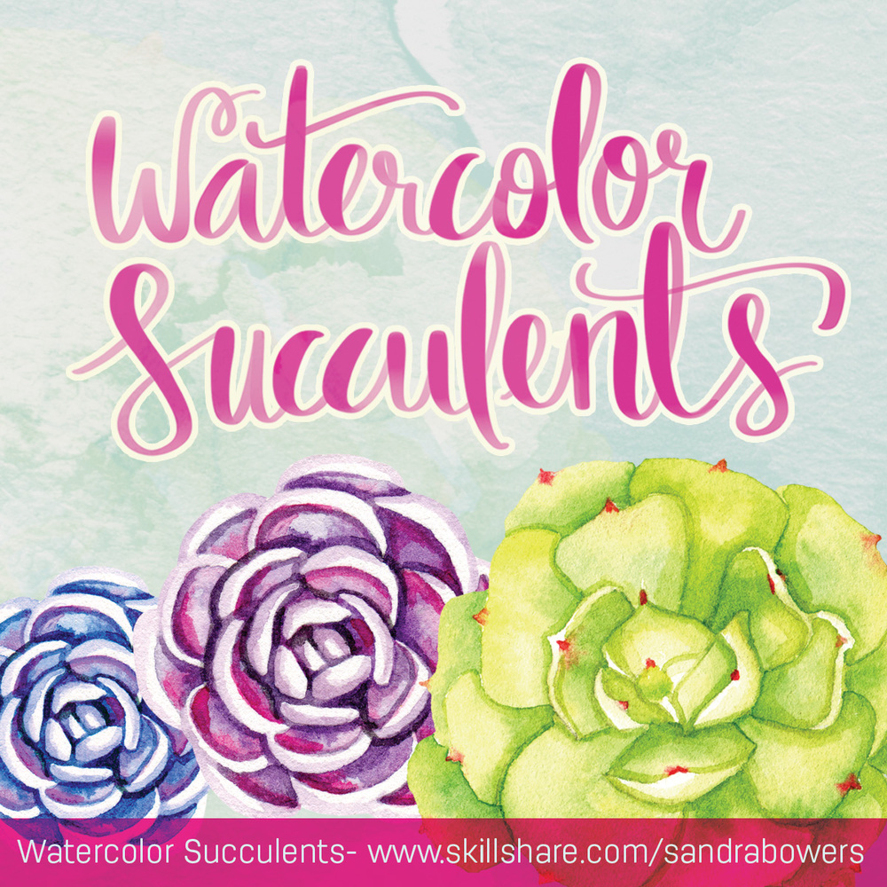 Watercolor Succulents SandraBowers